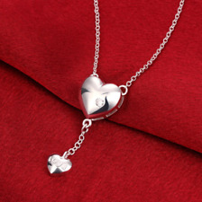 """Womens 925 Sterling Silver CZ Love Heart Pendant 18"""" Rolo Chain Necklace #N104"""