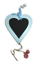 Wooden Blue Love Heart hanging Chalk Board - Kitchen Memo Blackboard