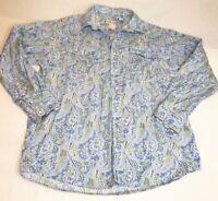 Roper Western Blue Paisley Long Sleeve Pearl Snap Cowboy Rodeo Shirt Mens LG