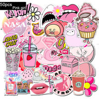 50Pcs Pink Laptop Stickers for Hydro Flask Decal VSCO Girl Stickers Skateboard