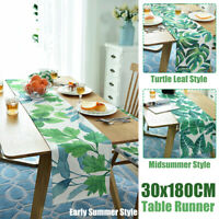 Green Tropical Leaf Tree Table Runner Home Party Decor Polyester 30x180CM