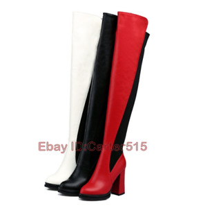 Polyester Winter Zipper Round Over High The Knee Thigh Boots Block Heel Shoes