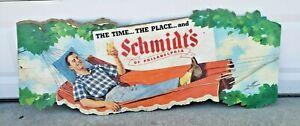 XRARE Vintage Schmidt Beer Sign Christian Schmidt's Phila Cardboard Litho Advert