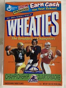 EMPTY Wheaties box 1998 Quarterbacks  Favre/Elway/Young G -VG condition