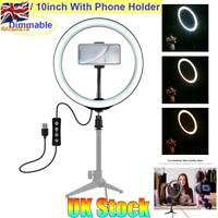 "UK 10"" LED Studio Ring Light Photo Video Dimmable Lamp Light For Camera & Phone"
