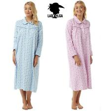 Lady Olga Winceyette Holly Nightdress 100% Brushed Cotton Womens Blue Or Pink