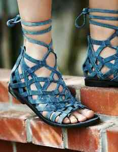NEW Free People Blue Great Lengths Sandals Gladiator Zip Up Lace Up