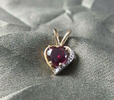 BEAUTIFUL 14K SOLID YELLOW GOLD, DIAMOND & GEMSTONE HEART PENDANT