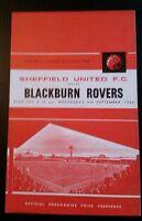 Sheffield United v Blackburn Rovers Programme 05/09/62