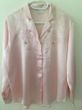 Vintage 100% Pure Silk Pink Hand Embroidered Blouses Size M Uk 12-14 Brand New