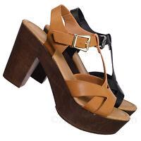 Pony9 Retro Wood Block Heel Platform Clog Sandal, Lightweight T-Strap Comfort