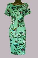 NEW EX MARKS AND SPENCER PER UNA GREEN FLORAL BODYCON PARTY WEDDING DRESS 8-24
