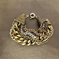 Chunky 7 Strand Copper Silver Brass Chain Bracelet Signed ALDO