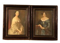 Pair of Antique Lithograth Portrait of Sibling Women Framed 7 X 9 Inches