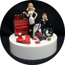 Car AUTO MECHANIC Wedding Cake Topper Groom top Tool Nascar racing Man Cave Fun