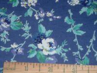 Vtg 80s Blue Teal Purple Flowers T-Shirt Knit Stretch Sew Fabric 80x54 Pretty489