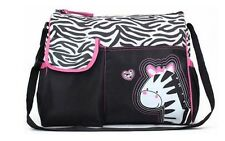 Bebé Pañal Cambio Impermeable Bolso de mensajero Pink Zebra Diseño