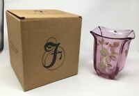 Fenton Art Glass Madras Pink Hand Painted Vase- New With Box! #8155 P6