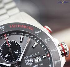 TAG Heuer Men's Formula 1 Cal 16 44mm Chrono Watch Steel on Steel Dark Grey Face