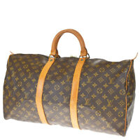 AUTH LOUIS VUITTON KEEPALL 50 HAND BAG MONOGRAM LEATHER BROWN M41426 84MF145