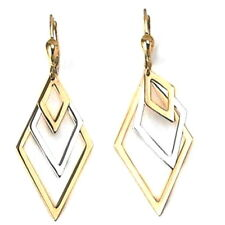 10K White and Yellow Gold Dangle Earrings with French Backs
