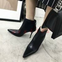 2019 New Chic Womens Pointy Toe High Stiletto Heel Zip Ankle Strap Boots Shoes