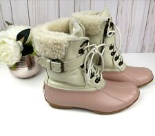 Sperry Women's Shearwater Water-Resistant Duck Boots Rose/Ivory 9M