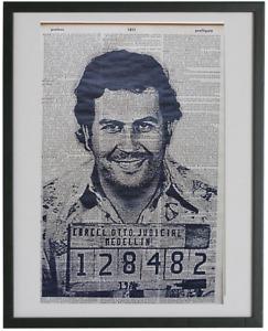 Pablo Escobar Mugshot Wall Art No.651, dictionary art, drug lord posters