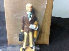 G SCALE FIGURE - BUSINESS MAN WITH BLACK SUITCASE, NEWSPAPER AND YELLOW COAT