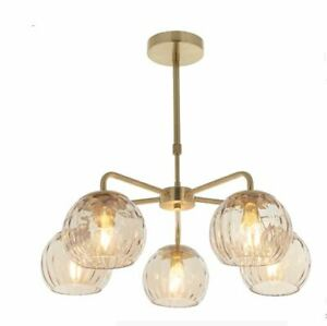 Milo Dimple 5 Light Ceiling Pendant Light, Brushed Brass Plated Finish Champagne