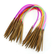 "18Pcs 16"" 40cm Multicolor Tube Circular Carbonized Bamboo Knitting Needles"