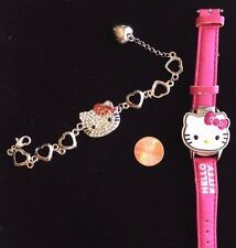 "Hello Kitty charm bracelet 7"" pave crystal jeweled face  and Hello Kitty Watch"