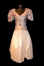 Vintage 80s Eugene Alexander Ivory & Gold Tea Length Prom Dress size 6
