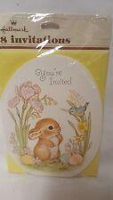 Vtg Hallmark Easter Bunny Party Invitations - Sweet Little Bunny Deco Eggs NIP
