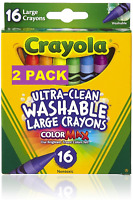 """Crayola Ultra Clean Washable Crayons Large Washable 16ct 2 PACK """"NEW"""""""