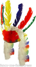 Mens Ladies Native Red Indian Feather Headdress Fancy Dress Costume Outfit Hat