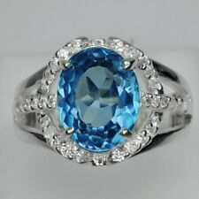BEAUTEOUS! SWISS BLUE TOPAZ & WHITE SAPPHIRE STERLING 925 SILVER RING SIZE 6.5