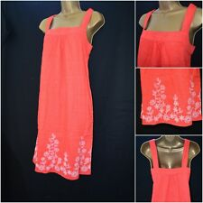 NEW NEXT SHIFT DRESS TUNIC CORAL RED ORANGE WHITE FLORAL EMBROIDERED SZ 8 - 22