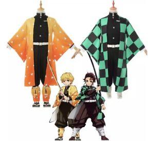 Demon Slayer Kamado Tanjirou Agatsuma Zenitsu Costume Set Wig  USA Seller