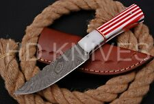8 inch HD Custom fixed blade Damascus steel full tang Hunter skinner knife 136