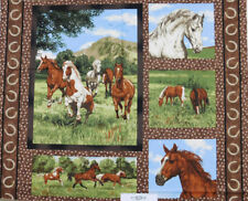 Patchwork Quilting Sewing Fabric RUNNING FREE HORSES Panel 90x110cm New