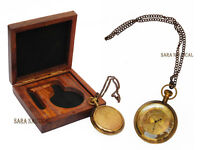 Nautical Brass Pocket Chain Watch Antique Numerals Style With Wooden Box Vintage