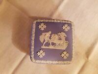 "Wedgwood Blue Jasperware Lidded Trinket Box 2""x4""x4"""