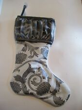 SILVER & CREAM LINED CHRISTMAS STOCKING MANTLE HOLIDAY DECORATION