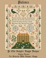Patience antique sampler style,counted cross stitch chart,10 pages,color& symbls