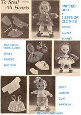 Vintage tricot poupée + 3 ensembles de vêtements Knitting Pattern robe veste bonnet