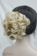 Golden Blonde Mix Short Curly Wavy claw clip ponytail hair pieces wig TLF028