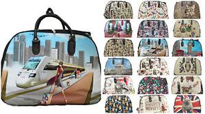 Unisex Ladies Holdall Hand Luggage Printed Floral Weekender Wheeled Trolley Bag