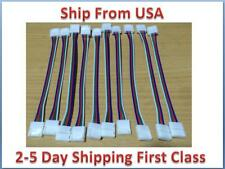 15PCS 10mm 4 Pin two Connector with Cable For SMD LED 5050 RGB Strip Light US