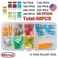 50pcs Micro2 Blade Fuses Assorted Kit Car Truck  5A 7.5A 10A 15A 20A 25A 30A US
